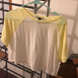 super cute yellow and white forever 21 crop top